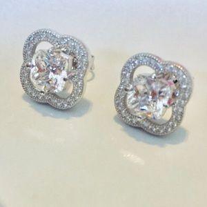 Jewelry - Quatrefoil Pave Diamond Stud Earrings